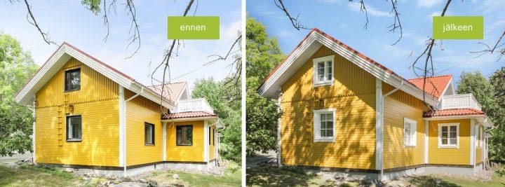 Ikkunoiden vaihto vanhaan taloon ennen ja jälkeen -kuvina.