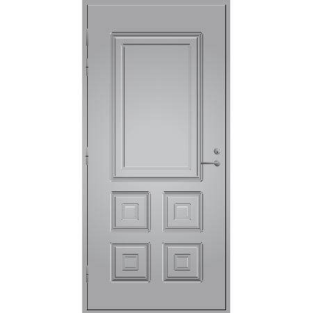 Pihla ulko-ovi UO 110. Umpiovi, kuviouritettu ulko-ovi. Moduulimitta 9x21. Vaaleanharmaa.