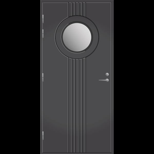 Pihla ulko-ovi UO180 on todellinen katseenvangitsija. Pyöreä 39 cm valoaukko.