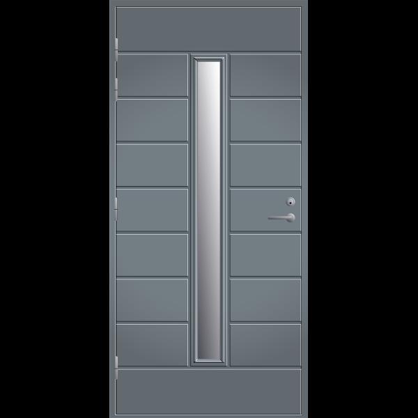 Pihla ulko-ovi UO202X. Harmaa, vasenkätinen
